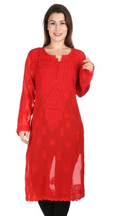 Sexy Red Long tunic Indian Hand Embroidery  Lucknow Chikankari  beach cover up /Kurtis/Top/Tunic  comfortable summer women/ladies/girls by Indiankala4u on Etsy