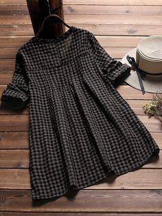 Vintage Plaid Half Sleeve Loose Blouse for Women