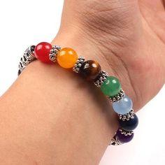 Healing Crystals Stone 7 Chakra Reiki Bracelet