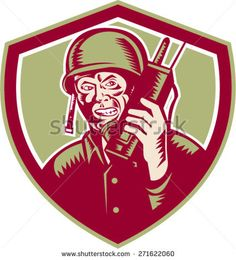 Illustration of a World War two American soldier serviceman talking on field radio walkie-talkie viewed from front set inside crest shield on isolated background done in retro woodcut style. Artwork Design, Graphic Design Art, Graphic Illustration, Retro Illustrations, American Soldiers, World War Two, Walkie Talkie, Vector Stock, Graphics