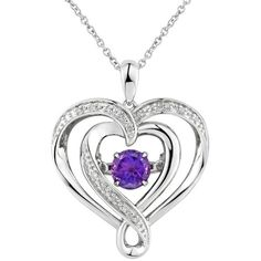 Two Hearts Forever One Amethyst & Diamond Accent Sterling Silver Floating Heart Pendant Necklace, Women's, Size: Purple Deer Necklace, Sterling Silver Heart Necklace, Purple Necklace, Amethyst Necklace, Amethyst Pendant, Heart Pendant Necklace, Sterling Silver Pendants, Hearts, Purple Diamond