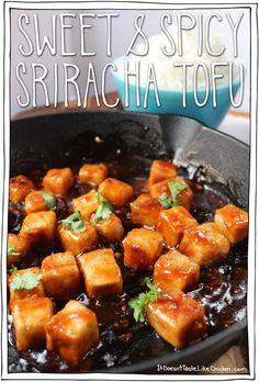 Sweet and Spicy Sriracha Tofu. The crispy tofu, the heat of Sriracha, and the sweet agave sauciness, make one fiiine combination. #itdoesnttastelikechicken