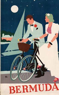 Bermuda travel poster Illustration by Adolph Treidler - I love Bermuda.