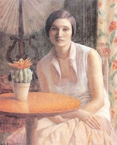 Frederick Carl Frieseke, Portrait of woman with cactus