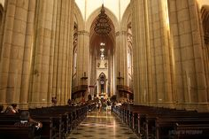 The Catedral da Sé, located in Cathedral Square, in downtown Sao Paulo. It is one of the five largest neo-Gothic churches in the world.