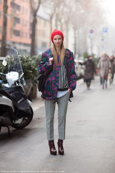 stripes and houndstooth. florals are an added bonus. Mixing Prints, Houndstooth, Her Style, Style Icons, Milan, Women Wear, Vogue, Hipster, Stylists