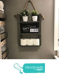 Ladder Shelf - Rustic Wood & Rope Bathroom Shelf - Cabin Home Decor - Medicine Cabinet - Toilet Paper Holder from Knotty By Nature Decor…More Palette Deco, Rustic Farmhouse Decor, Rustic Wood, Primitive Decor, Modern Rustic, Bathroom Storage Shelves, Storage Room, Hanging Storage, Bathroom Cabinets