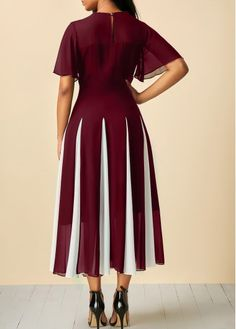 ZHI Elegant Chiffon Patchwork Slim Short Sleeve Mid-Long Dresses is cheap sale on newchic, pick chiffion dresses and show your beauty now. African Wear, African Dress, African Fashion, Elegant Dresses, Casual Dresses, Wine Red Dress, Red Wine, Panel Dress, Short Sleeve Dresses