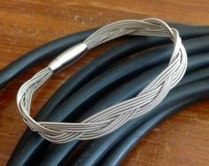 Thick 12 String Guitar String Bracelet with Heavy Duty Magnetic Clasp