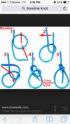 How to tie a bowline knot. Gets stronger the harder you pull.