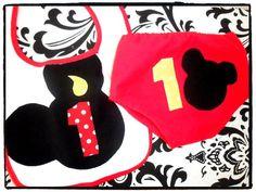 Mickey Mouse Birthday Bib & Diaper Cover Set $24 #etsy #mickey