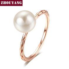 OL Dame Stijl Imitatie Parel Rose Vergulde Ring Volledige Maten Voor Vrouwen Bruiloft Groothandel Top Kwaliteit ZYR424