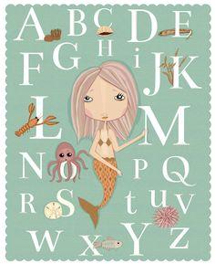 Alphabet Poster Mermaid Under The Sea Art Print For Nursery or Little Girl Room or Classroom. $18.00, via Etsy.