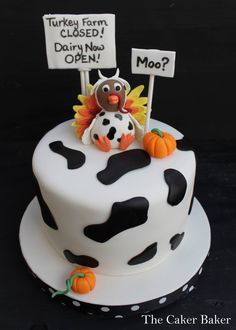 Turkey Farm Closed! - I donated this cake to my daughters school for their fall festival cake walk. This cake was SUPER fun to make. Thanks to cc member m_luv for the inspiration for this cake. It was a total hit!  Thanks for looking.