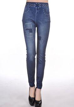 Full Length Blue Jean Jeggings