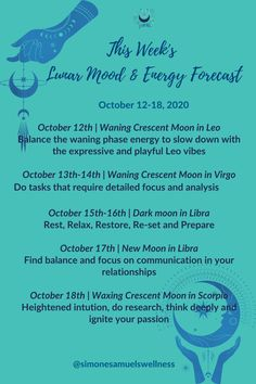 Lunar Energy and Mood Forecast for the week commencing 12 October, 2020 #lunar #moon #moon #energy #astrology #forecast #moonmagick #lunarselfcare Virgo Moon, Gemini, Holistic Wellness, Natural Energy, Body And Soul, Health And Wellbeing, Self Care, Astrology, Moon Phases