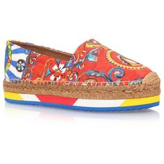 45a37afc228 Dolce  amp  Gabbana Boid Carretto Print Espadrille ( 540) ❤ liked on  Polyvore featuring