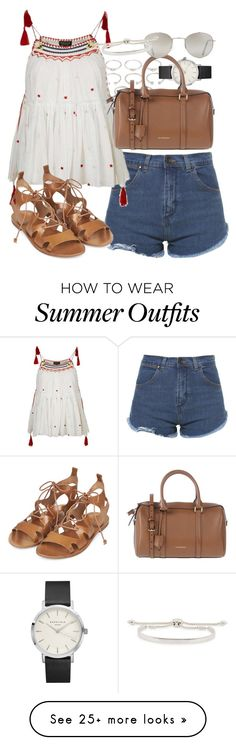 """""""Outfit for summer with denim shorts"""" by ferned on Polyvore featuring Forever 21, Zara, Topshop, Burberry and Monica Vinader"""