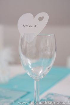 Die cut heart place cards to go on glasses £4.99 pack of www.fuschiadesigns.co.uk