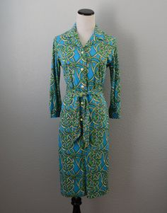 Geometric Blue and Green Dress // 1970s Vintage by CoolMintMoon