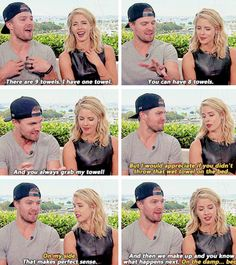 Felicity and Oliver's first fight. Over a fluffy towel. #Olicity #Arrow #Season4 #SDCC 2015 #CWSDCC