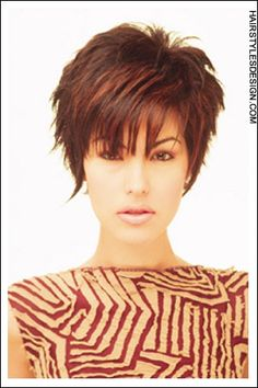 Short Hairstyles - Sassy Highlighted Pixie with a Fringe!