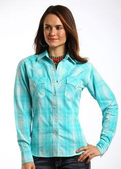 Panhandle Slim Ladies Turquoise Long Sleeve Plaid Snap