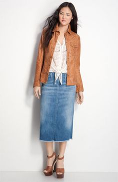 Love that jean skirt, jacket's cute too.