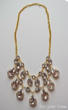 DIY Rhinestone Statement Necklace | My Girlish Whims--Also lists sources for her components