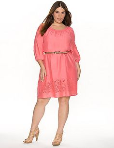 Season-perfect peasant dress is the highlight of your warm weather wardrobe with charming eyelet detailing at the hem. Breezy woven dress keeps you cool and looking gorgeous with a shirred scoop neckline and 3/4 bracelet sleeves, plus a wrapped faux leather skinny belt to define the shape. Fully lined.  lanebryant.com