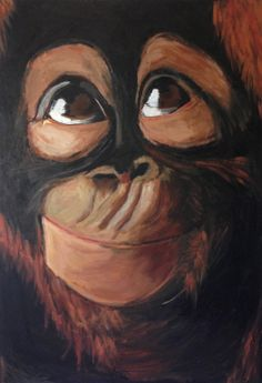 """Saatchi Art Artist: Callum Von Domarus; Acrylic 2013 Painting """"Monkey Face"""" Monkey Drawing, Monkey Art, Baby Drawing, Painting Tattoo, Love Painting, Painting & Drawing, Paint Monkey, Murals For Kids, Pictures To Paint"""