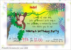 Hawaii style invitation, Printable invitation for child, Birthday invitation, Jungle party by HappyMomentsDesign on Etsy