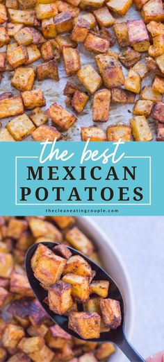 Mexican Potatoes are the perfect easy side dish! Roasted to crispy perfection, paleo, whole30 and absolutely delicious - these authentic potatoes are baked perfectly and go with everything! You can make them with cheese, or enjoy them plain. They're great for breakfast, lunch or dinner!#healthy #paleo #whole30 Whole30 Recipes Lunch, Vegetarian Recipes Dinner, Dinner Healthy, Paleo Recipes, Mexican Food Recipes, Veggie Recipes, Free Recipes, Mexican Side Dishes, Side Dishes Easy
