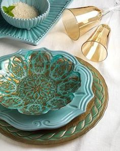 Teal China Inspirations ~ Damask and laurel glass