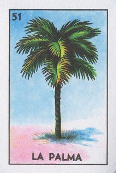"51 La Palma (The Pine Tree) ""Palmero, sube a la palma y bájame un coco real. Chicano, Loteria Cards, Mexican Art, Mexican Stuff, Illustrations, Cool Nail Art, Graphic Design Illustration, Palm Trees, Folk Art"