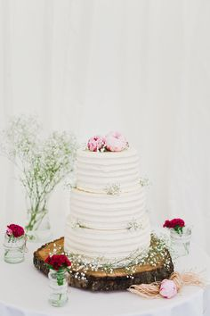 Buttercream Wedding Cake | Classic Country Marquee Reception | Lace White One by Pronovias Gown | Peony Bouquet | Lace and Beads House of Fraser Bridesmaid Dresses | Navy Tails | Images by White Stag Wedding Photography | http://www.rockmywedding.co.uk/chloe-jason/