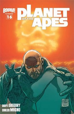 """Issue: Planet of the Apes #16 Writer: Daryl Gregory  Artist: Carlos Magno  Colors: Darrin Moore  Letters: Travis Lanham  Cover A: Carlos Magno with Nolan Woodard  Cover B: Damian Couceiro with Nolan Woodard  Cover C: Carlos Magno Publisher: BOOM! Studios I know what you're thinking. You're thinking """"What? Another issue of that comic about talking monkeys?"""" I say to that: """"How dare you call them monkeys? They're apes! And they do more than just talk. They rush into warfare, indulge in…"""