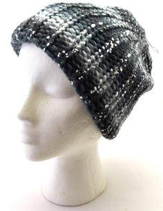 Winter Mudd Women Black Gray Silver Shiny Beanie Hat Comfortable Fashion 6886