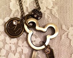 Mickey Mouse  Inspired Key  Necklace.  Antique Bronze Tone.