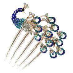 Peacock, Hair comb, clip, bronze metal, resin, rhinestones, crystal, hair jewelry.
