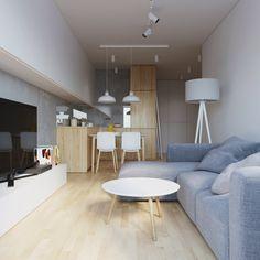 W: - 081 architekci Small Apartment Interior, Flat Interior, Interior Exterior, Apartment Living, Home Interior Design, Condo Design, Loft Design, House Design, Small Studio Apartments