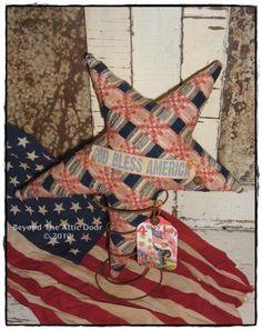 Americana STAR Vintage Coverlet Rusty Bedspring Primitive Sitter.