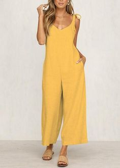 oble Elegant Women Casual Loose Fashion Long Jumpsuits Solid Strap Wide Leg Jumpsuit Tie Up Sexy Backless Vacation Feminino. Casual Tie, Casual Jumpsuit, Jumpsuit Outfit, Backless Jumpsuit, Lace Jumpsuit, Short Jumpsuit, Jumpsuit With Sleeves, Mode Inspiration, Jumpsuits For Women