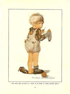 1937 Child Darning His Sock Childrens Vintage Print. Ideal For Framing. , via Etsy.