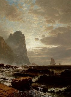 """""""At the South Head, Grand Manan,"""" Alfred Thompson Bricher, oil on canvas, 55 x 45 Nasher Museum of Art at Duke University. Moonlight Painting, Hudson River School, Nautical Art, Sky Art, Vintage Artwork, A4 Poster, Traditional Art, American Art, Art Images"""