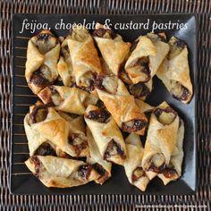 Feijoa chocolate and custard pastries. Recipe via Bunny Eats Design. Fejoa Recipes, Guava Recipes, Fruit Recipes, Dessert Recipes, Cooking Recipes, Desserts, Clean Eating Cake, New Zealand Food, Chocolate Custard