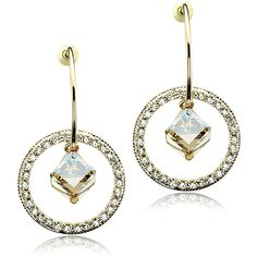 Crystal champagne gold color earrings