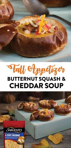May your fall season be filled with family, friends, and these Butternut Squash and Cheddar Soup appetizers! Start off by hollowing out small pretzel rolls. Then fill them with a delightful, buttery squash soup that has been combined with the smooth rich texture of Sargento® 4 State Cheddar cheese blend. Finally, top it off with apple slices, bacon bits, and a little more cheese to make it extra special. This is definitely one recipe you can enjoy all fall long.