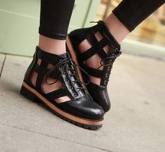Leisure Women Summer Hollow Out Ankle Boots Casual Lace Up Sandals Shoes