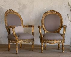 Vintage Gilt Louis XVI French Style Hand Carved Armchairs Pair Roses-antique, Chairs, furniture, upholstered, gold,shabby, elegant, upscale,1940